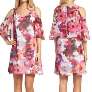 Maggy London Cold Shoulder Floral Dress Size: 14